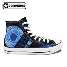 Men Women Original Converse All Star Design Galaxy Sky Police Box Hand Painted Shoes Unisex High