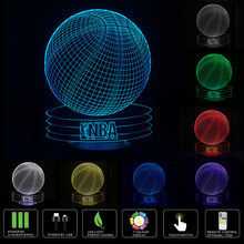 NBA Basketball - LED Desk 3D Light USB Touch Illusion 7 Color Change Night Lamps
