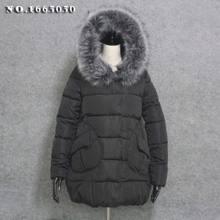 Winter jacket Women warm coat with big faux fur collar Mid-long hoodie coat thick Winterjas dames Winter jassen Large pockets