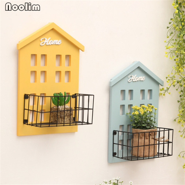 NOOLIM Creative Wooden Wall Iron Frame Solid Wood Flower Frame ...