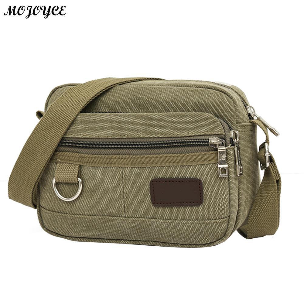 MOJOYCE Men Canvas Mini Messenger Bag Casual Multi-Layer Shoulder Crossbody Bag Simple Solid Color Travel Handbag Business Bag