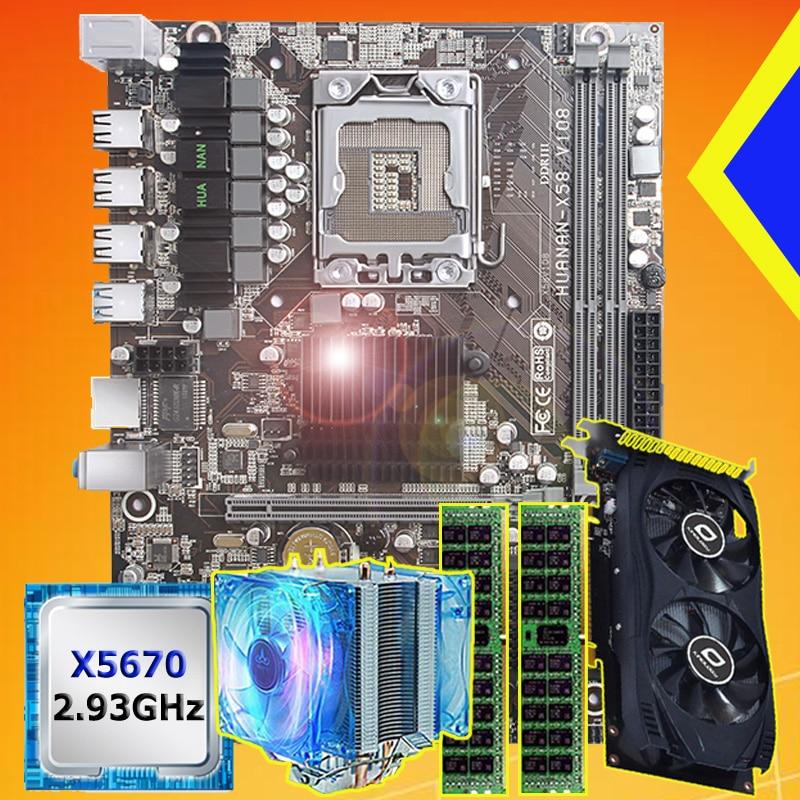 Discount Motherboard Bundle HUANAN ZHI X58 Motherboard With CPU Xeon X5670 2.93GHz RAM 16G(2*8G) RECC GPU GTX750Ti 2G Video Card