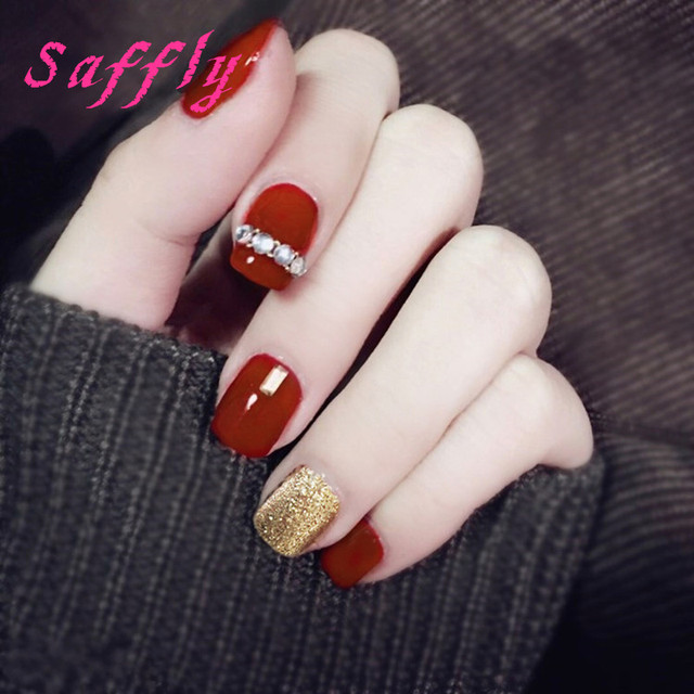 Saffly Fashion red and Gold False Nail 24pcs with Diamonds Solid ...