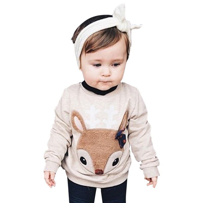 Fashion Boys Girls Shirt Toddler Baby Kids Long Sleeve Crewneck Fox T-shirt Pocket Deco 1-6 Y
