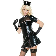 Patent Leather Sex Nurse Uniform Woman Erotic Fancy Dress PU Costume For Games Masquerade Lace Cosplay  Ligerie Hot
