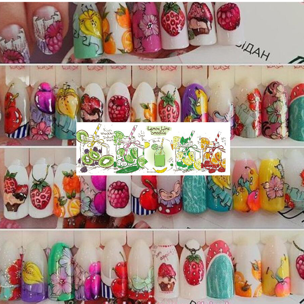 Image 5 - 18pcs Sweets Ice Cream Summer Nail Sticker Mixed Colorful Fruit DIY Water Decals Nail Art Decorations Manicure Tool TRSTZ471 488-in Stickers & Decals from Beauty & Health