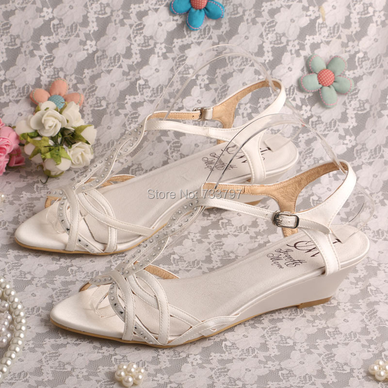 46b21585e32 Wedopus Low Sandals Wedge Shoes Ivory Satin Summer Shoes Bridal Dropshipping