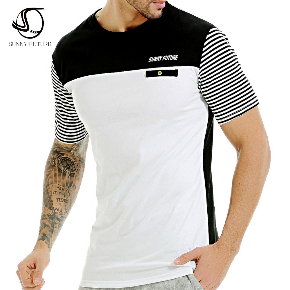 Design t shirt brand - Sunny Future Casual Stripe Short Sleeve Cotton T Shirts Men Brand Clothing Design Summer Male Tshirt