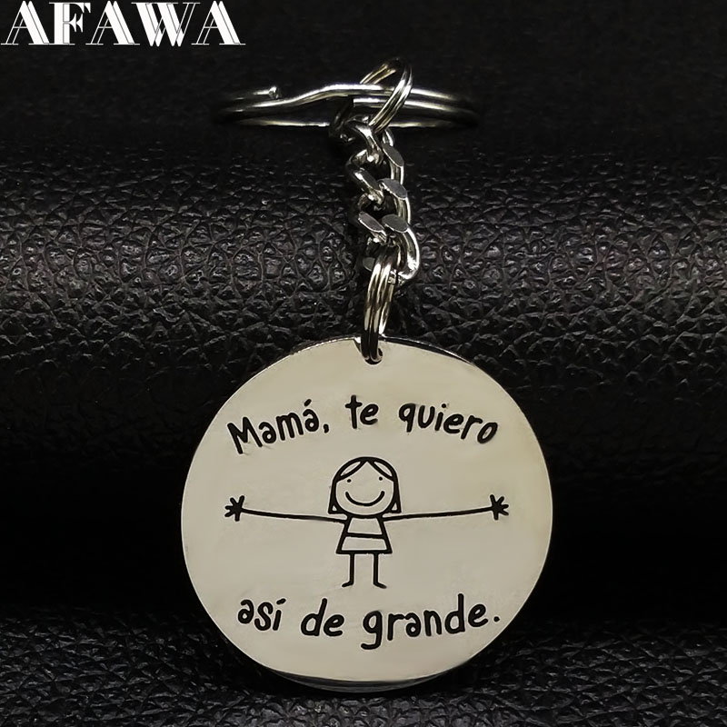 2019 New Fahsion Mama Te Quiero Stainless Steel Key Ring Women Girl Silver Color Bag Charm Jewelry Llaveros K77387B