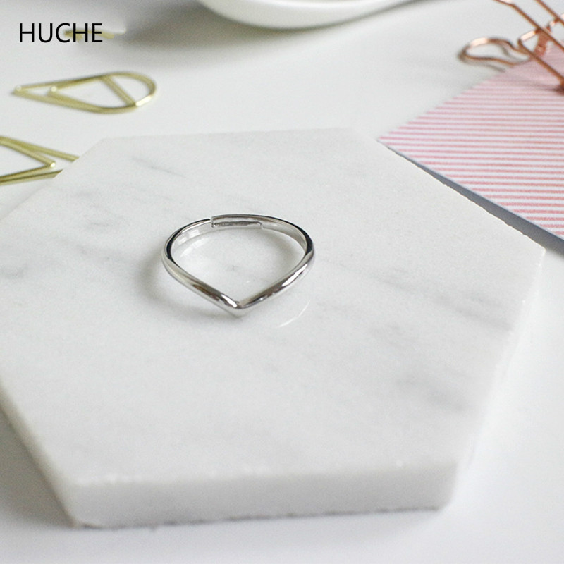 HUCHE Simple Silver 925 Rings for Women Sterling Silver Jewelry Adjustable Finger Ring Lady Bague Femme Party Accessories HC065