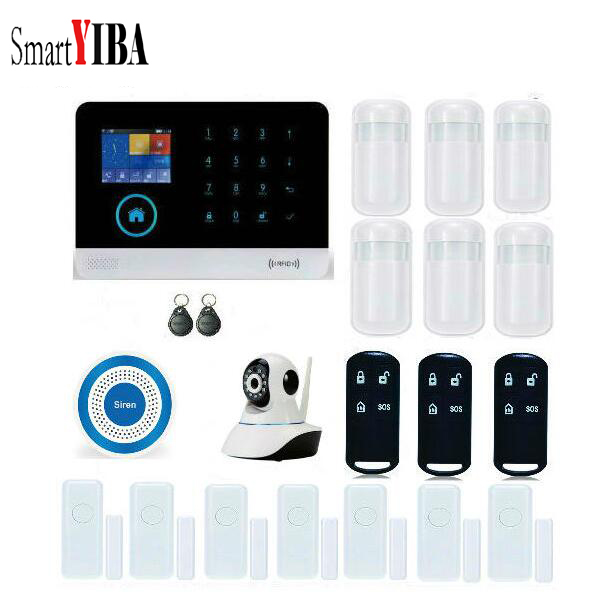 SmartYIBA WIFI SIM GSM Home Burglar Security LCD Touch Keyboard Wireless IP Camera Door Sensor Alarm System Sensor Siren kit wireless sim gsm home rfid burglar security lcd touch keyboard wifi gsm alarm system sensor kit english russian spanish french