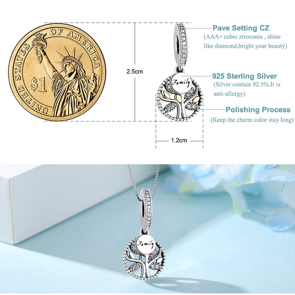 Lüks 925 Sterling Gümüş Ailəli GÜL, KUBİK ZIRCONİYA Muncuq - Moda zərgərlik - Fotoqrafiya 3