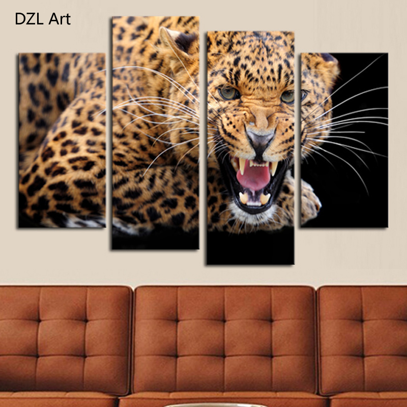 4 Panels Frame Yellow Spots Leopard Painting Canvas