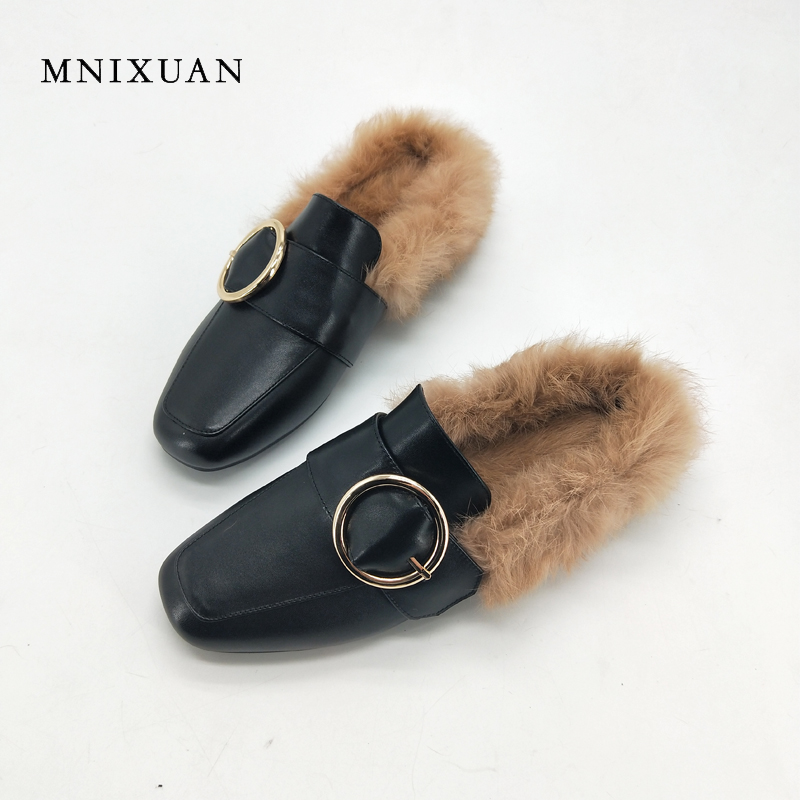 MNIXUAN Women shoes mules real leather 2017 new arrival winter ladies flats shoes square toe low heels with rabbit fur big size9 new arrival soft leather shoes women flats fashion design square toe comfortable women s flats office ladies brand shoes