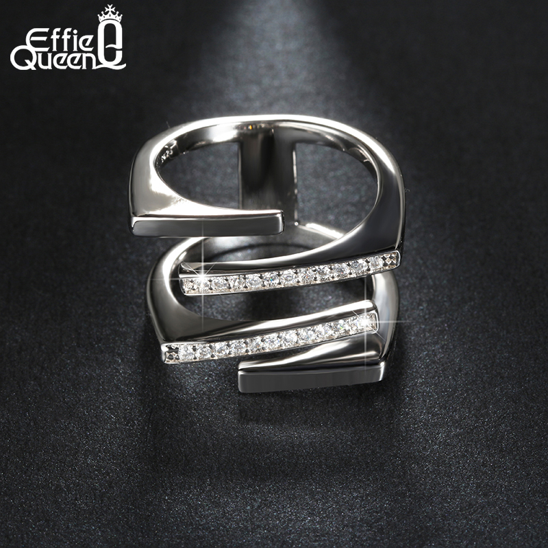 Effie Queen Attraktiv Design Ladies Crystal CZ Engasjement Cocktail Ring for Kvinner Zirconia Smykker Large Finger Rings DR127