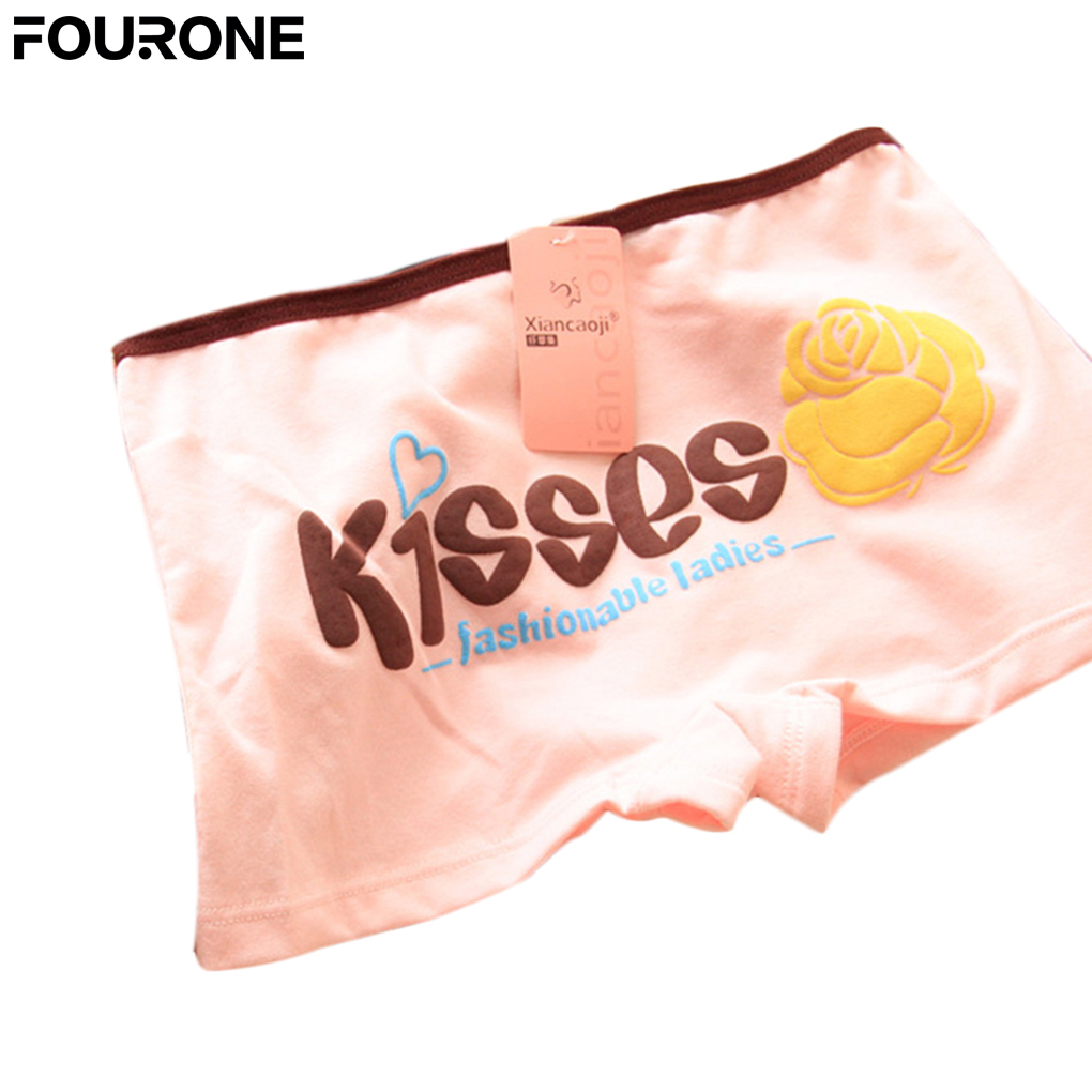 Sexy New Arrival Good Quality Lovely Kisses Rose Printed Women Cotton Briefs Anti-exposure Safety Lingerie Underwear   Panties