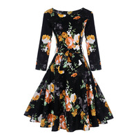 Sisjuly Autumn 1950s Vintage Dresses Knee Length Women Black Female Party Dress Retro O Neck Flower