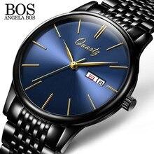hot deal buy angela bos business ultra thin men's watches 2017 top brand luxury quartz stainless steel watches men fashion calendar date week