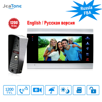 JeaTone 7 inch Video Doorbell Monitor Intercom With 1200TVL Outdoor Camera IP65 Door Phone Intercom System Support CCTV Camera