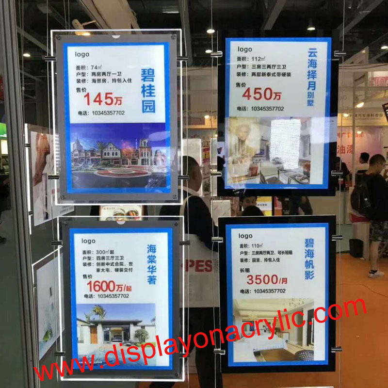 (10 units/Pack) A4 Single Sided Suspended Hanging Poster Light Box,Wire Cable Display Picture Lightbox with Magnetic Front Panel