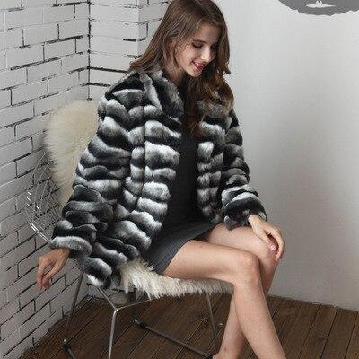 Women Faux Rabbit Fur Stripe Fur Coat MT0726 in Faux Fur from Women 39 s Clothing