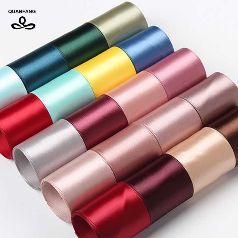 QUANFANG 100 yard/roll Satin Ribbon For Diy Handmade Gift Craft Packing Hair Accessories Materials Wedding  Christmas decoration