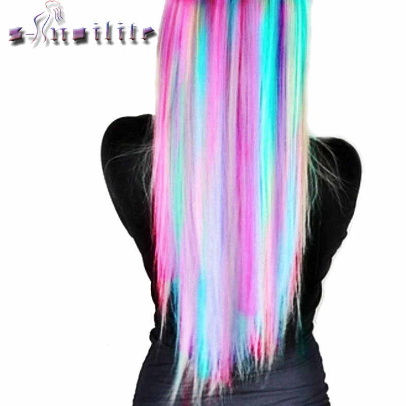 S-noilite 22inches Rainbow Colors Clip in One Piece Hair Extensions Straight Long Synthetic Heat Resistant Hair Piece