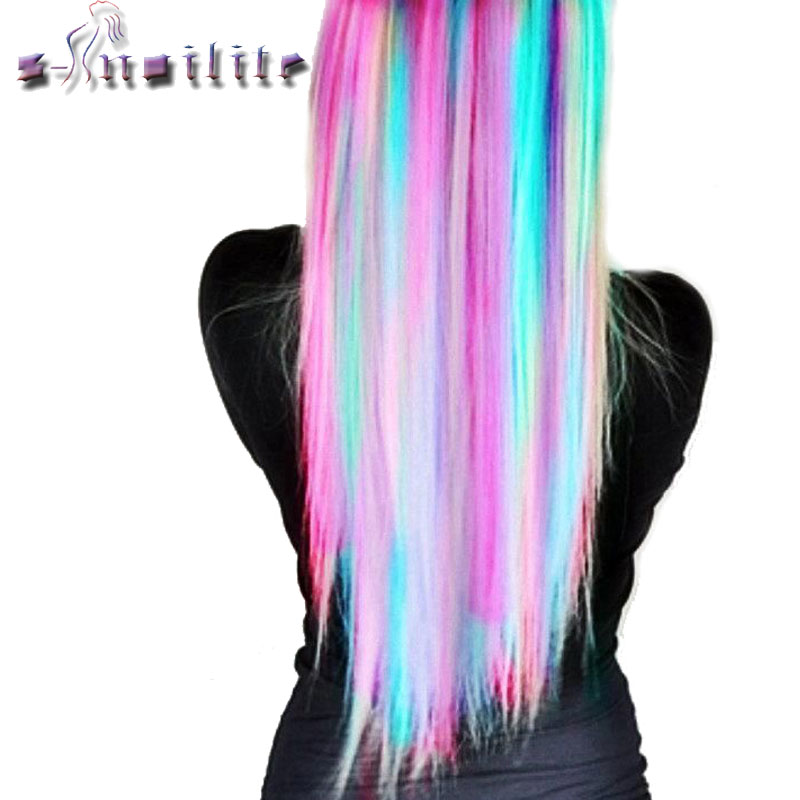 S Noilite 22inches Rainbow Colors Clip In Hair Extensions