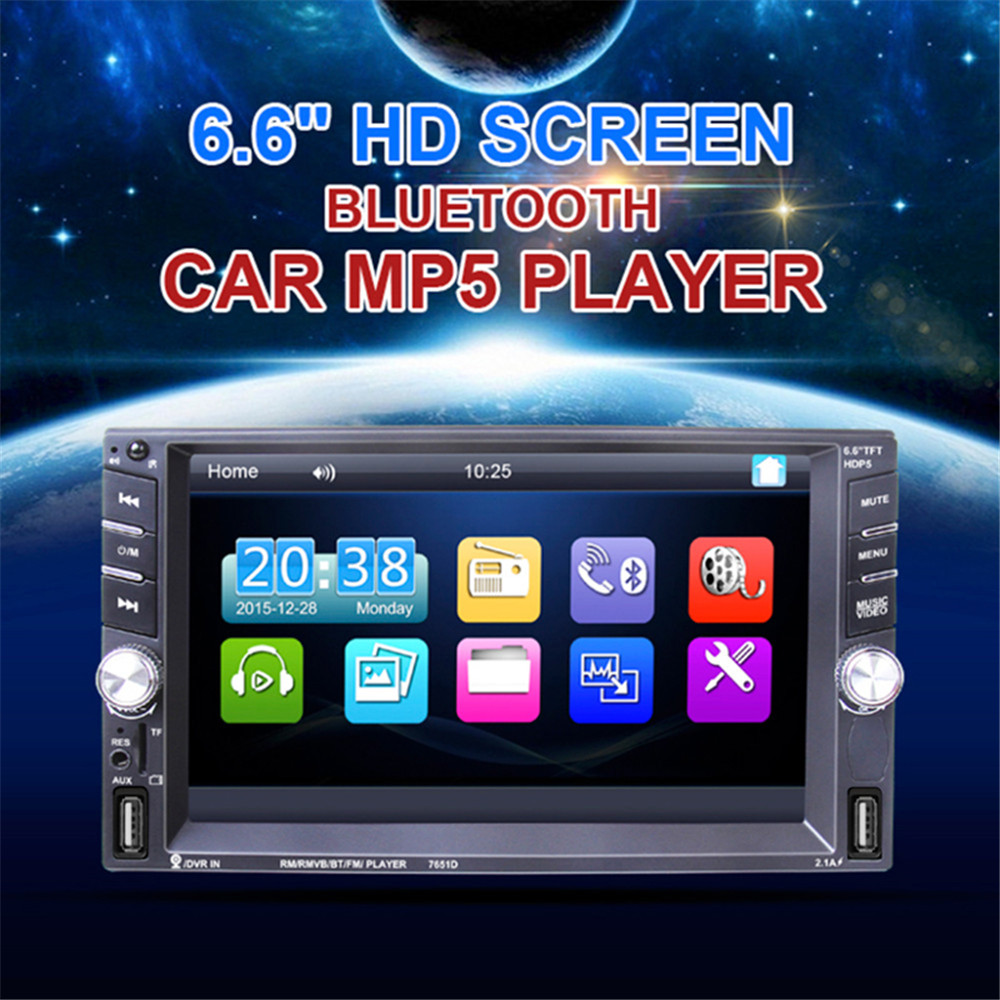 "2 Din Car Radio 6.6"" LCD Touch screen Car audio 12v auto radio player with bluetooth FM rear view camera autoradio Stereo"