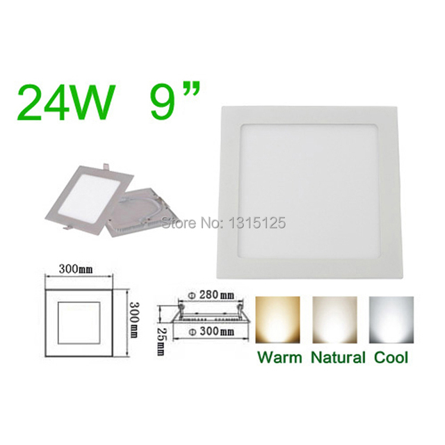 High quality SMD2835  24W LED Recessed ceiling light / Square Panel Lights 300mm, AC85-265V Wholesale LED Lamp +free shipping