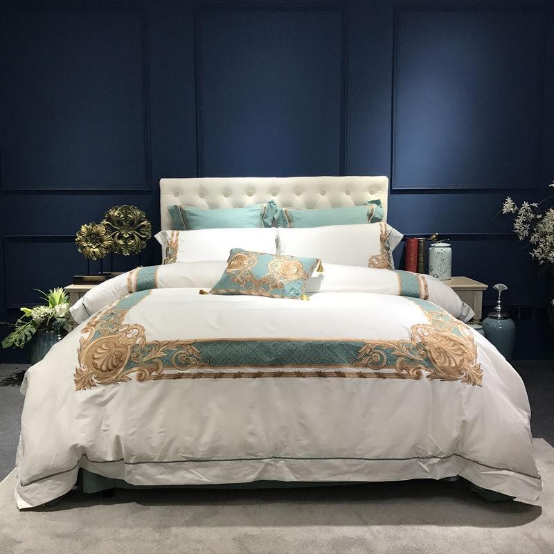 Oriental ปักผ้าฝ้ายอียิปต์สีขาว Royal ชุดเครื่องนอนชุด Queen King ขนาดเครื่องนอนชุดผ้าคลุมเตียงแผ่นชุด-ใน ชุดเครื่องนอน จาก บ้านและสวน บน   2