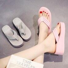 9545c2c04e34 summer Slippers women Thick bottom Muffin cake sandals flip flops high  cotton Beach shoes woman(