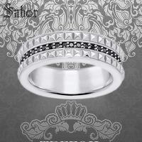 Studs Black Wedding Eternity Rings, 925 Sterling Silver Fashion Jewelry Punk Gift For Women & Men 2019 Alliance thomas