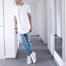 Di alta qualità Mens big and Abbigliamento alto designer citi trends vestiti T shirt homme fondo Arrotondato Tee plain white Estesa Kpop(China)