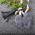 Fuffy KARLITO Karl Genuine Fox Fur Pompom Monster Bag Bugs Charm Keychain Plush Key Ring Leather Tassel Pompom Key Chain f84
