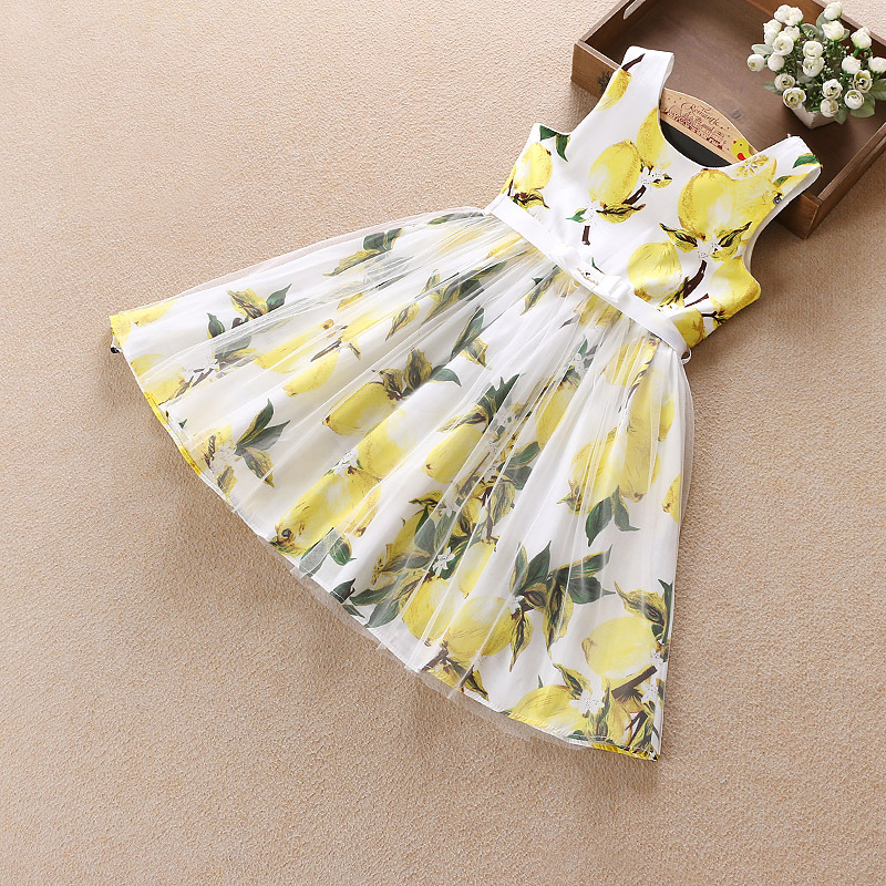 New Summer Girls Dress Cotton Lemon Princess Dresses For Girls Infant Casual Kids Clothes Fashion Design Party Child Clothing summer girls florwer dresses new design 2016 casual cotton sleeveless kids clothes lovely party vest dress infantil vestido hot