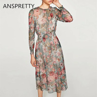 Anspretty Apparel Floral Print Chiffon Dress Women Vintage Long Sleeve Midi Dress Lolita Elegant Dresses