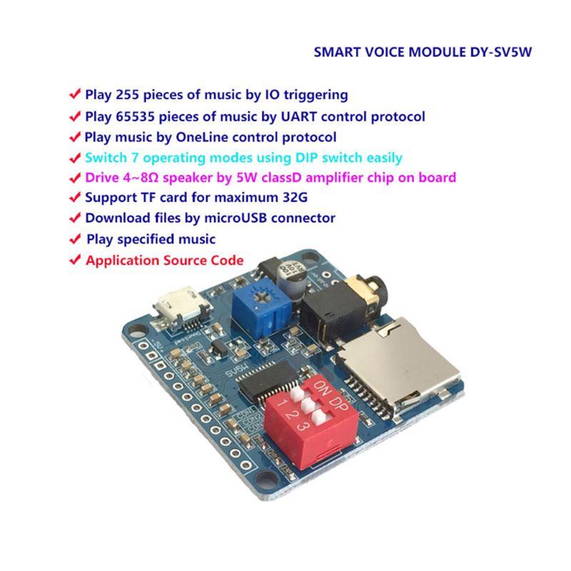 Mini reproductor MP3 módulo gatillo DY-SV5W//control de puerto serie Audio Tablero De Juego