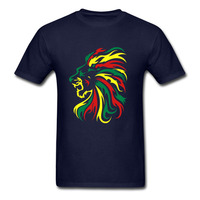 2018 Son Tasarım Benzersiz Yaz Tarzı Reggae aslan Tribal T gömlek Erkekler 100% pamuk kısa kollu Baskılı Gençlik T-shirt Boyutu tshir