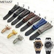 MERJUST באיכות עור אמיתי רצועת השעון 28mm חום כחול אפור שחור צמיד החלפת עור שעון רצועת לגברים עבור AP