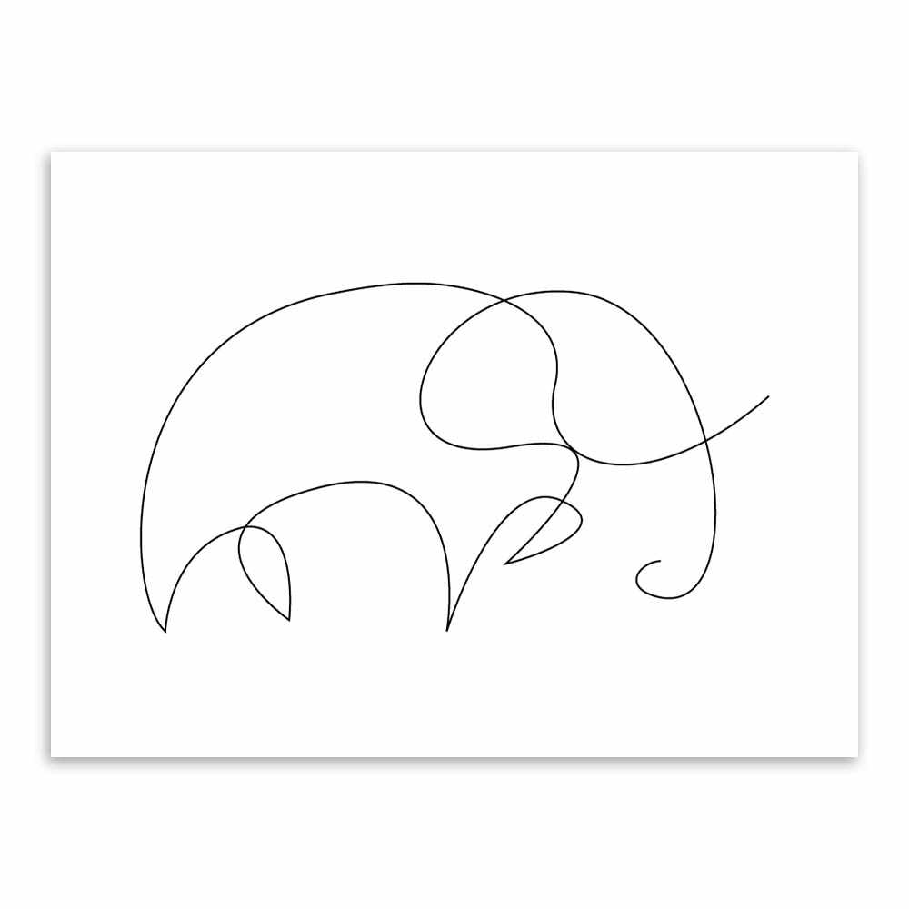 Hitam Garis Putih Minimalis Modern Abstrak Hewan Fox Nordic Rusa Kanvas Poster Seni Dinding Dekorasi Rumah Lukisan No Frame