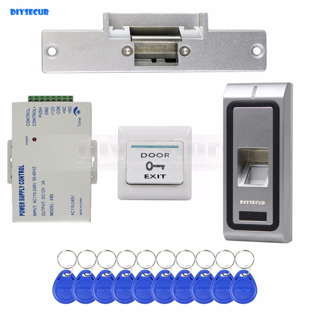 DIYSECUR Fingerprint 125KHz RFID ID Card Reader Door Access Control System Kit + Electric Strike Lock + Remote Control biometric face and fingerprint access controller tcp ip zk multibio700 facial time attendance and door security control system