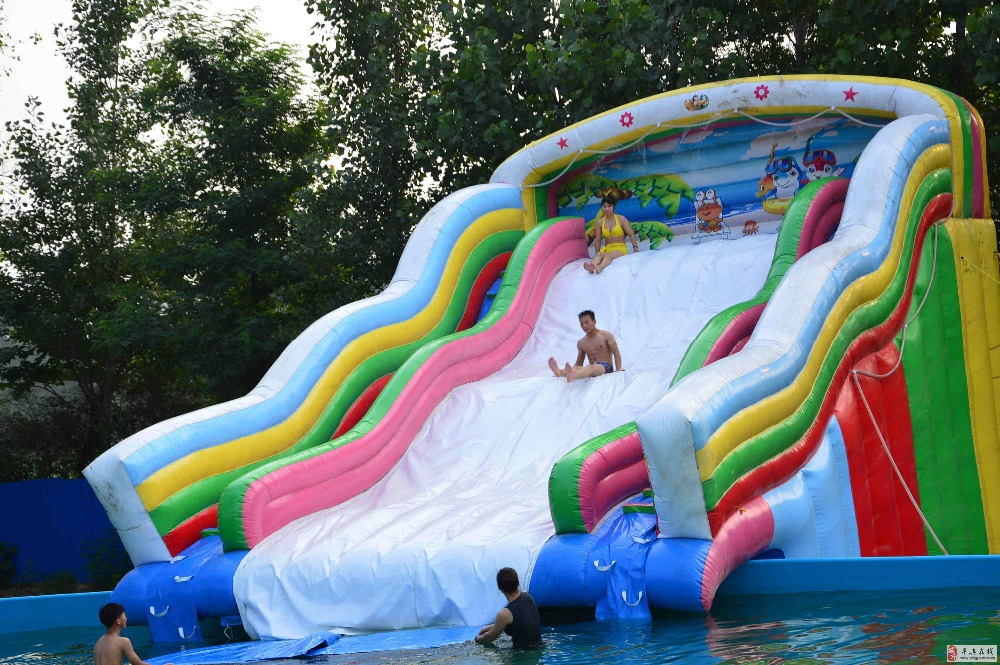Factory direct inflatable castle slides Pool slide, large water park Large pool Ocean World ship pool KY 722