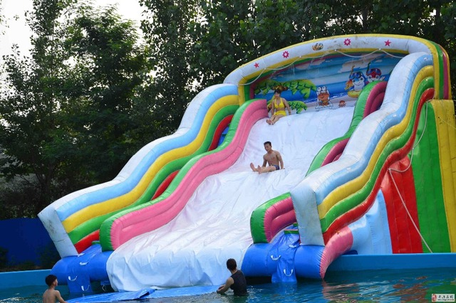 Factory direct inflatable castle slides pool slide large - Commercial swimming pool water slides ...