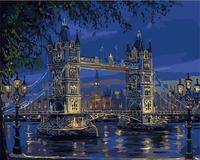 Frameless Picture Europe Tower Bridge Of London DIY Painting By Numbers Kit DIY Digital Canvas Oil