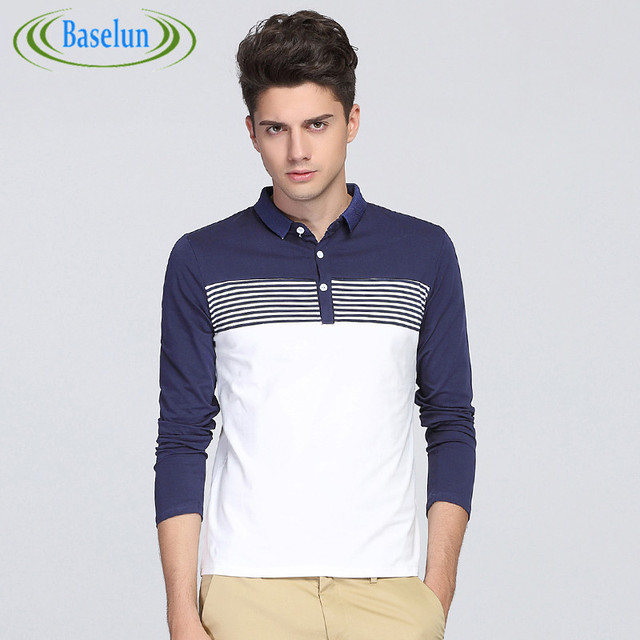 2016 New Fashion Mens Polo Shirt Brands Clothing Turn Down Collor Slim Fit Polo Men Long Sleeve Striped Casual Polo Shirt Men