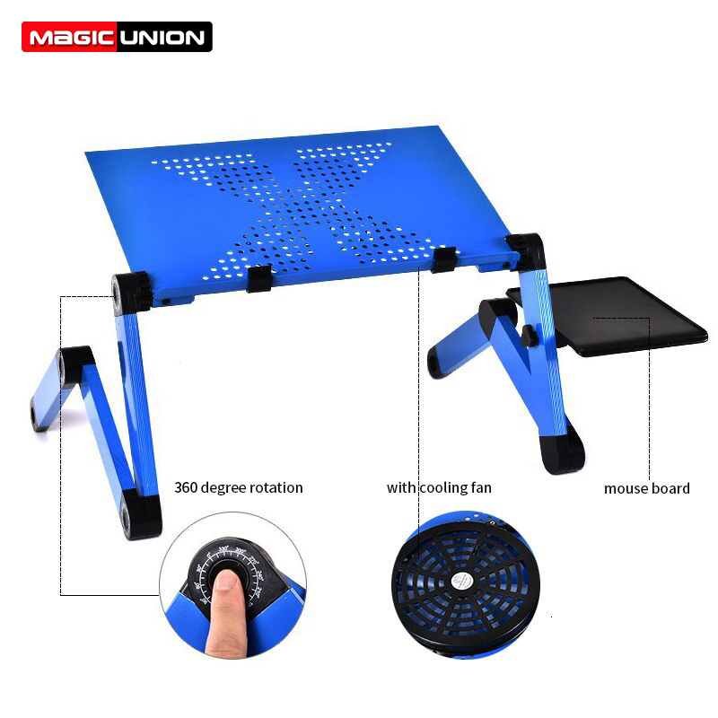 Portable Mobile Laptop Standing Desk For Bed Sofa Laptop Folding Table Notebook Desk With Mouse Pad & Cooling Fan For Office-in Laptop Desks from Furniture