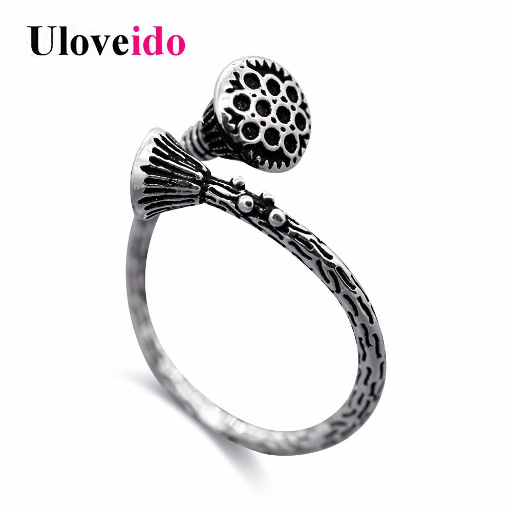 Uloveido Adjustable Lotus Rings for Women Simple Engagement Ring with Stone Unique Decorating Jewelry Top Ringen Wholesale Y392