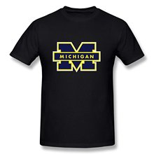 Tee Shirt Shop  Short Sleeve Printing Machine O-Neck Mens Style Fans Ring Spun University Of Michigan Regular T Shirts