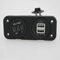 LED Digitale Auto Voltmeter Met 3.1A Dual USB Autolader Adapter Waterdichte Motorfiets USB Laders Voor Telefoon GPS Tablet
